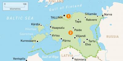 Estland Kort Kort Estland I Det Nordlige Europa